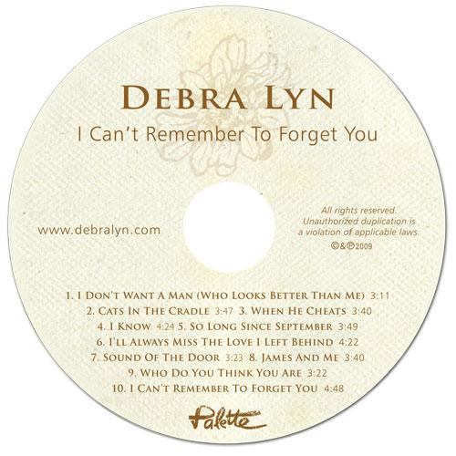 Debra Lyn-I Can't Remember To Forget You - Disc - Nashville-Mt. Juliet CD Design