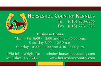Horseshoe Country Kennels Nashville Business Card Design