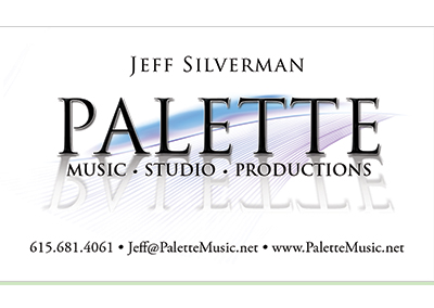 Palette Music Studio Productions Nashville Business Card Design