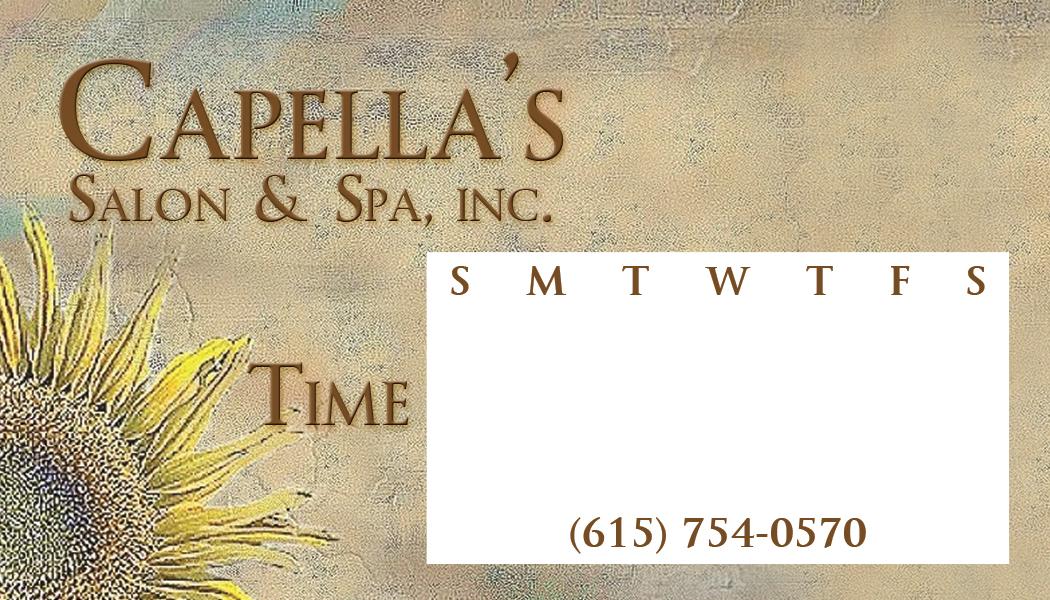 Capella's Salon & Spa Appointment Card