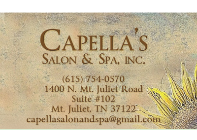 Capella's Salon & Spa Nashville Business Card Design