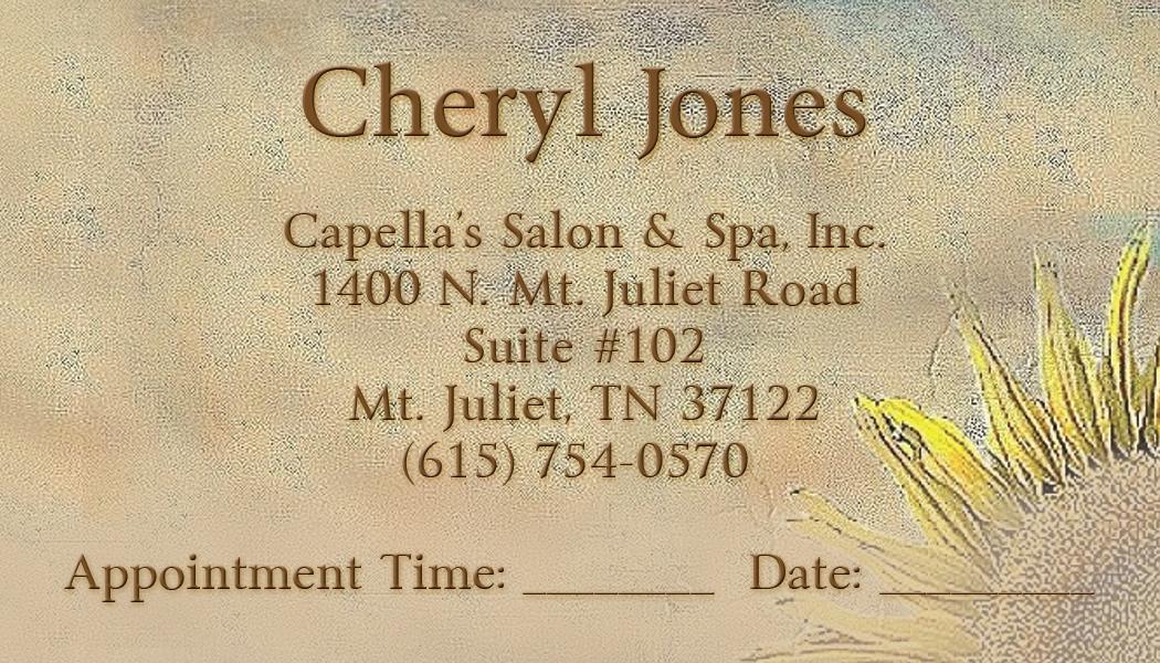 Capella's Salon & Spa - Cheryl Jones Business Card