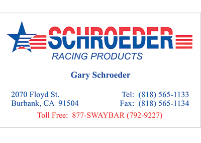Schroeder Racing Products Nashville Business Card Design