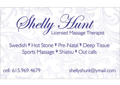 Shelly Hunt Nashville Business Card Design