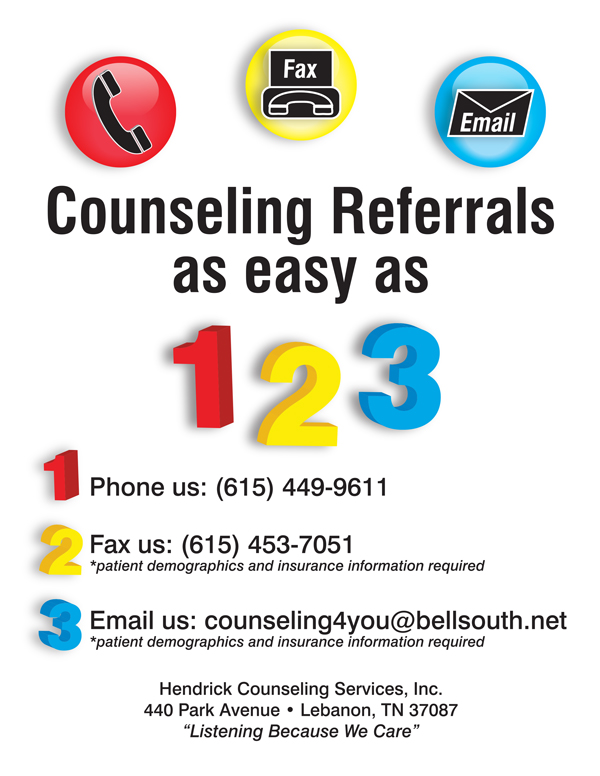 Hendrick Counseling - Easy As 123 Nashville Flyer Design - Front