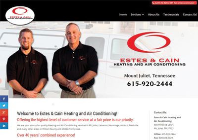 Estes and Cain HVAC – Mt. Juliet Website Design