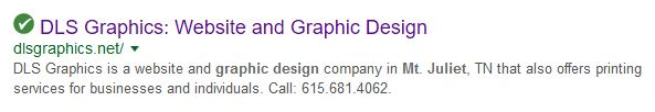 DLS Graphics Website Design Mt Juliet Search Result - shows the importance of using SEO as a marketing tool