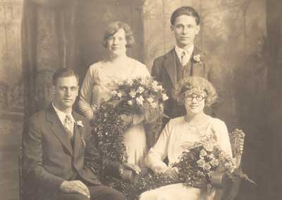 Wedding Party Historic Photo Before and After Photoshop