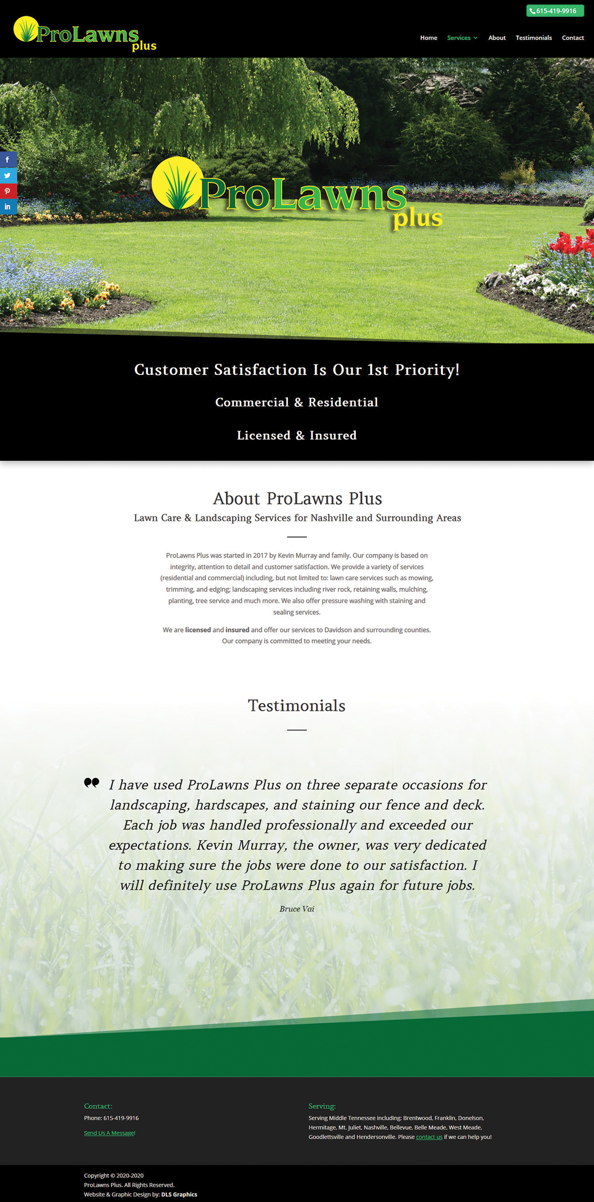 ProLawns Plus Home Page